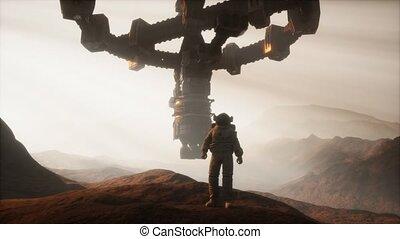 planète, marche, astronaute, mars