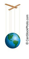 planète, marionnette, marionnette, la terre, contrôle, ...