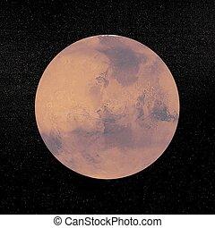 planète, mars, -, render, 3d