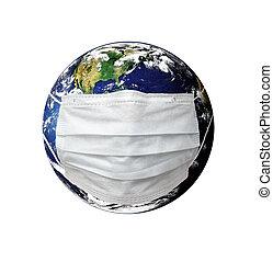 planète, masque, la terre, malade, monde médical