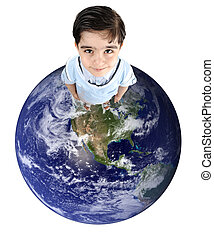 planète, mignon, gosse, la terre