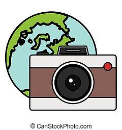 planète, mondiale, appareil photo, photographique, la terre