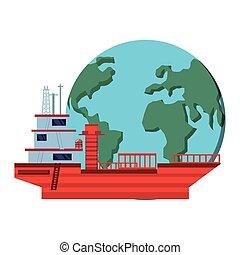 planète, mondiale, bateau, pétrolier