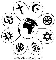 planète, mondiale, fleur, religions, la terre