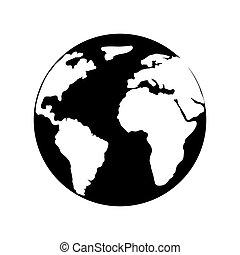 planète, mondiale, la terre, icône