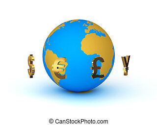planète, monnaie, autour de, la terre