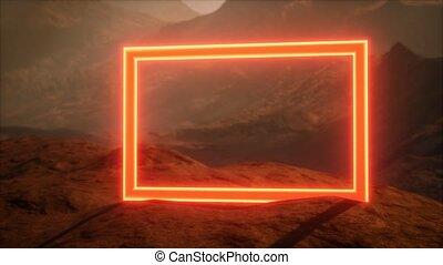 planète, néon, souffler, mars, surface, poussière, portail