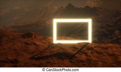 planète, néon, surface, poussière, souffler, portail, mars