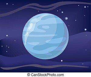 planète, neptune, fond, espace