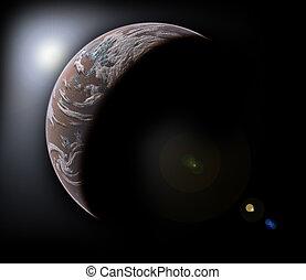 planète, noir, espace