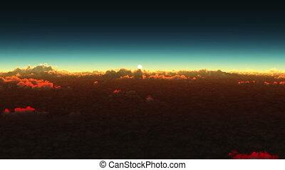 planète, nuages, levers de soleil, au-dessus
