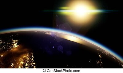 planète, nuit, la terre, soleil, espace