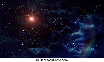 planète, nuit, lentille, mars, flamme