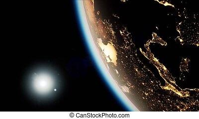 planète, nuit, soleil, espace, la terre