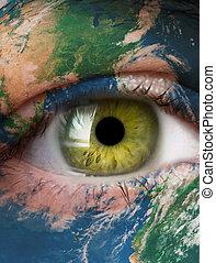 planète, oeil vert, humain, la terre