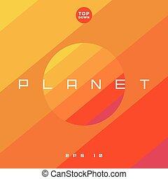 planète, ou, style, tendance, illustration, plat, étoile