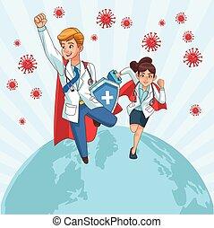 planète, particules, covid19, super, vs, couple, médecins, ...