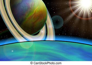 planète, paysage, vector., fond, espace