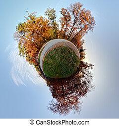 planète, peu, panorama, globe, -, automne, degrés, temps, ...