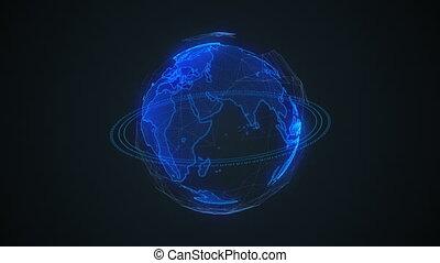 planète, plexus., réseau, échange, données, globe global, tourner, connections., numérique, la terre, earth.