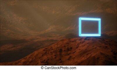 planète, poussière, mars, néon, surface, souffler, portail