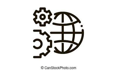 planète, problèmes, icône, animation, résoudre