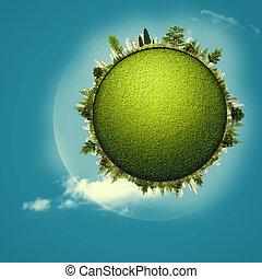 Planète, résumé, Arrière-plans, ambiant, conception, vert, ton