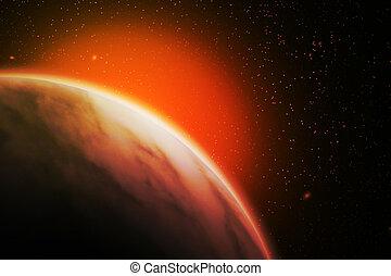planète, résumé, image, rouges