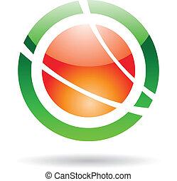planète, résumé, orbite, coloré, icône