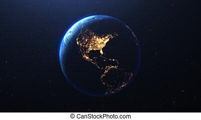 planète, render, espace, 3d, la terre, affiché