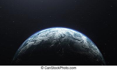 planète, render, espace, 3d, la terre, ceci, affiché, image, fourni, la terre, éléments, nasa