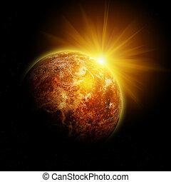 planète, rouges, profond, space., une