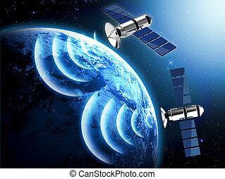 planète, satellite, la terre, bleu