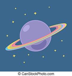 planète, saturne, extérieur, étoiles, espace