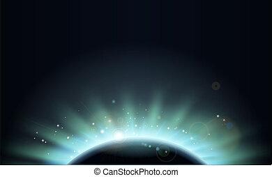 planète, soleil, éclipse, fond