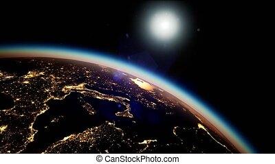 planète, soleil, espace, nuit, la terre