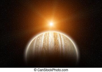 planète, soleil, jupiter, levée