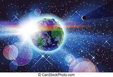 planète, soleil, &, la terre, espace