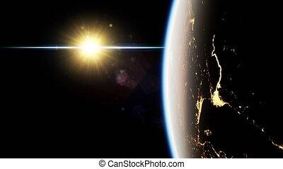 planète, soleil, la terre, nuit, espace