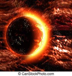 planète, soleil, ou, brûlé
