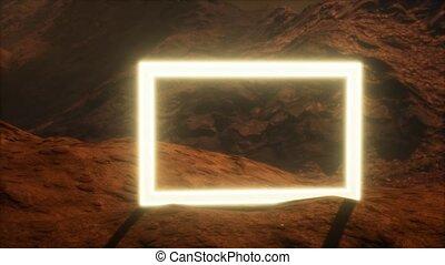 planète, souffler, portail, surface, néon, mars, poussière