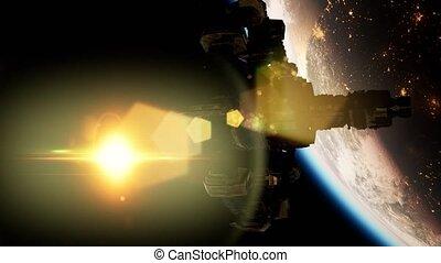 planète, station, la terre, espace, international, sur