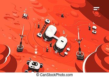 planète, station, orbite, base, mars
