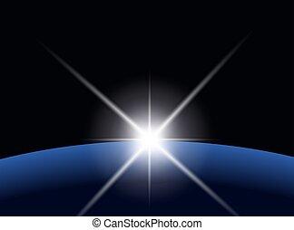 planète, sur, concentration étoile