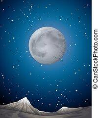 planète, sur, scène, lune