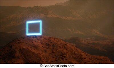 planète, surface, portail, néon, poussière, souffler, mars