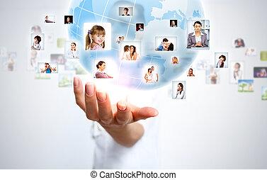 planète, symbole, gestion réseau, social