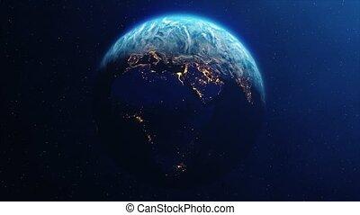 planète, tourner, jour, nuit, la terre, boucle, lentement, animation