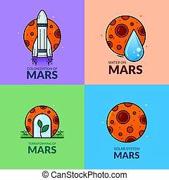 planète, vecteur, illustration, mars