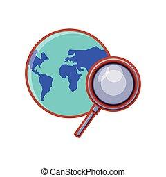 planète, verre, recherche, magnifier, la terre